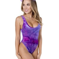 Purple Crushed Velvet Baywatch High Cut Bodysuit