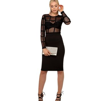 Black Window Pane Midi Dress