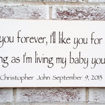"Nursery Decor, Robert Munsch ""I'll love you forever, I'll like you for always, as long as I'm living my baby you'll be"""