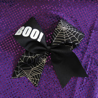 BOO! and Spiderweb Halloween Cheer Bow