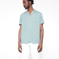 The Idle Man Revere Collar Shirt Light Blue