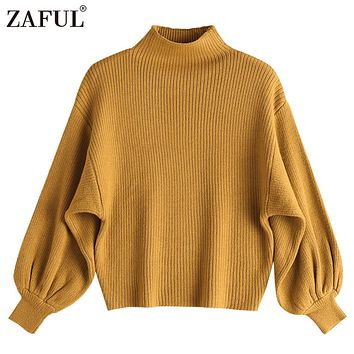 ZAFUL Cotton Women Mock Neck Lantern Sleeve Knitted Sweater Solid Casual Drop Shoulder Slim Pullovers Sweater Jumper Outwear