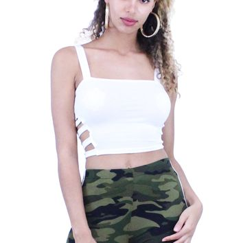 Square Neck Side Cutout Sleeveless Crop Top