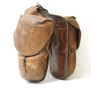 SWISS ARMY Panniers 1910, Military Leather Packsaddle Bags, Antique Connected Horse Cavalry or Motorcycle Bags, pre WW1, Made in Switzerland
