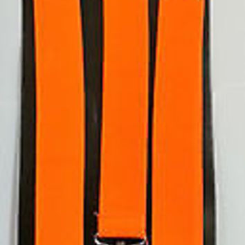 Solid ORANGE Adjustable Bow Tie & Solid ORANGE Adjustable Suspenders Combo-New2