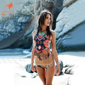 DCCKL6D QIANG YI 2017 summer new crop top Sexy padded high neck bandage bikini set Tassel Hollow women Swimwears Beach Swim suit bathing