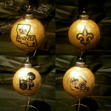 New Orleans Saints Christmas Ornaments. Handmade Glittered Glass Ornaments