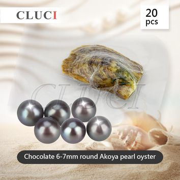 CLUCI Chocolate 6-7mm round akoya skittle Pearls in Oysters vacuum-packed 20pcs, Colorful Round Beads for Women Jewelry Making