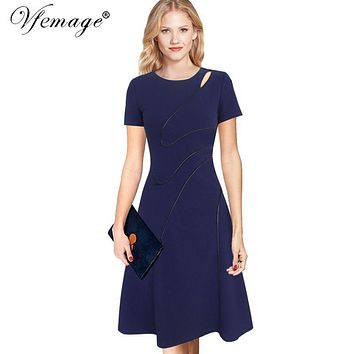 Vfemage Womens Elegant Summer Contrast Patchwork Cutout Tunic Work office Vintage Casual Party Fit and Flare Skater Dress 6039