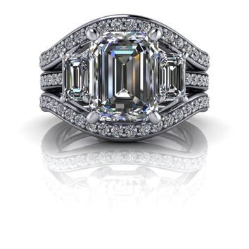 Diamond Bridal Set-Three Stone Engagement - Emerald Cut SUPERNOVA Colorless Moissanite Ring