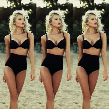 2017 New Solid Black Soft Cotton Cutest Retro Swimsuit Swimwear Vintage Pin Up High Waist Bikini Set Good Quality