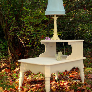 Wood End table, vintage table, white up cycled table, chalk paint distressed, French country, Cottage Chic, shabby chic, custom, living room