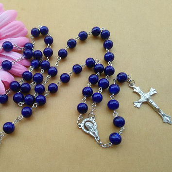 Long Blue Glass Rosary Necklace Unisex Fashion Metal Cross Religious Jewelry Accessories