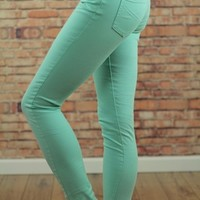 Mint 5-Pocket Skinny Stretch Pants