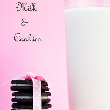 "Fine Art Photography kitchen decor food photography ""Milk and Cookies"" 8x12 original photo prints wall art  pink oreos milk"