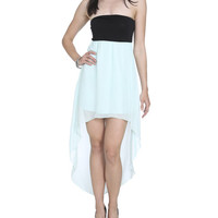 Knit Chiffon High-Low Dress - WetSeal