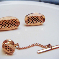 Vintage SWANK Men's Cuff Links Tie Tack set Cufflinks