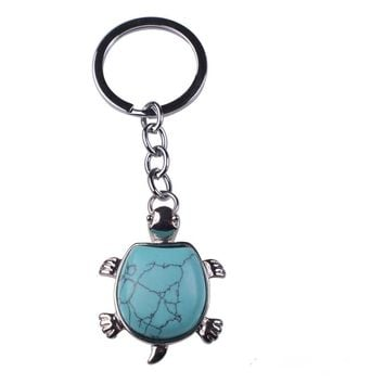 Tortoise Shape Keyring Natural Gem stone Sea Turtle Pendant Keychain Charms llaveros couple keychain