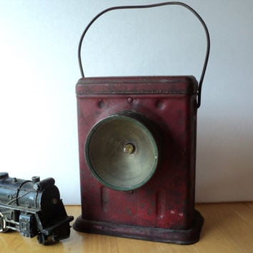 Railroad Lantern Antique Delta Electric Red Rail Road Lamp 1940s Rustic Rusty Industrial Decor for Man Cave, Farmhouse or Barn Gift for Him