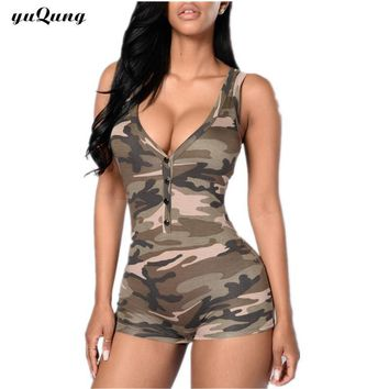 yuqung Camo short jumpsuit romper Dungarees for women macacao one piece bodycon Playsuit Bodysuit overall Combinaison Femme