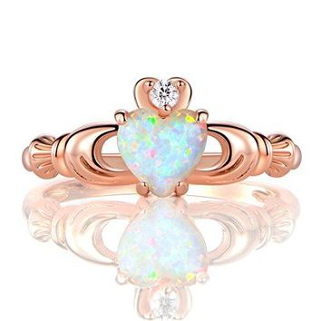 AUGUAU GEMSME Rose Gold Flashed Created 6mm White Heart Opal Cubic Zirconia Crown Ring