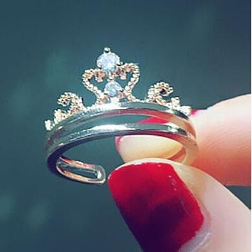 Stylish Women Simple Personality Jewelry Diamond Crown Ring(Diamond Ring Crown Can Be Separated) I12903-1