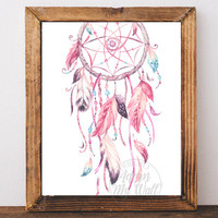 Pink Dream Catcher, Dreamcatcher print, Dream Catcher Printable, wall art, Printable wall art, watercolour, Feathers, Boho