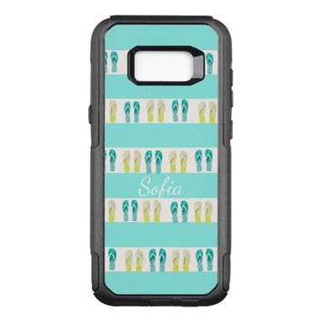 Turquoise and white stripes and beachy flip flops OtterBox commuter samsung galaxy s8+ case