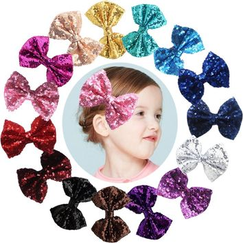 15pcs 4 inches Boutique Hair Bling Sparkly Sequins Nylon Mesh Ribbon Headbands for Party Girls Kids Children Alligator Hair Clip