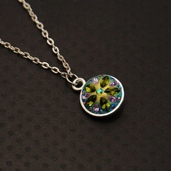 Spectral Swarovski Pendant - Tropical colors with Olivine Green - OOAK and brilliant colors - blue, green, violet, gold, and silver necklace
