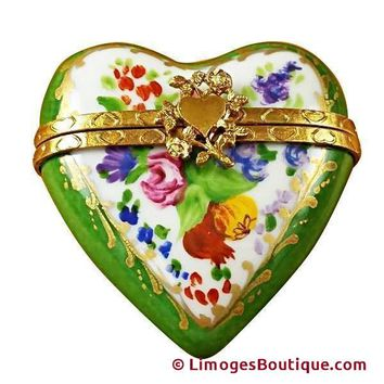 GREEN HEART LIMOGES BOXES