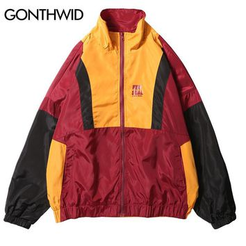 Trendy GONTHWID Vintage Color Block Patchwork Windbreaker Jackets Men Casual Full Zip Up Loose Track Jacket Male Hip Hop Streetwear AT_94_13