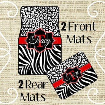 Custom Personalized Set of Car Floor Mats - Front and or Rear Back, Monogrammed Car Mats, Leopard Cheetah, Zebra Black Red