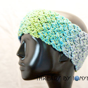Crochet Handmade Headband, Earwarmer - Thick, Multicolor, Purple, Blue, Green, Headwarmer, Womens Fashion, Winter Accessories - Holiday Gift