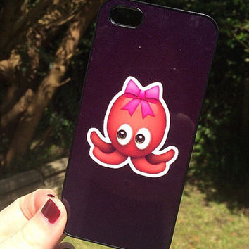 Iphone 4 4S Phone Case Emoji Icons Octopus Bow Print Hipster Phone Cover