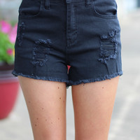 High Waist Cutoff Shorts {Black}