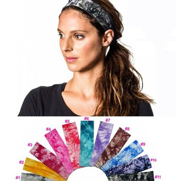 2 inch Tie Dye Cheetah Forest Tree Chevron Zebra Cotton Stretch Headbands Yoga Sports Girl Hair Bands Bandage Gum Turban Bandana