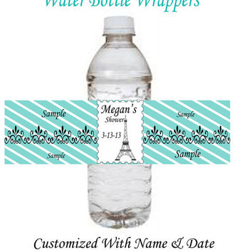 Momma Eva's -- NEW Paris In Tiffany Blue Inspired Collection (003) // Printable Water Bottle Wrappers // Showers  / Birthdays / You Print