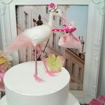 SALE Baby shower Girl stork  bird cake topper