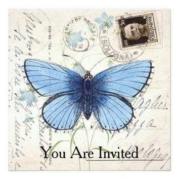 Vintage Blue Butterfly Italian Postcard Invitation
