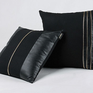 Pu Leather Woolen Series Pillow Cushion Cover