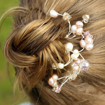 Wedding Hair Pins Pink Champagne Pearl Bridal by jewellerymadebyme