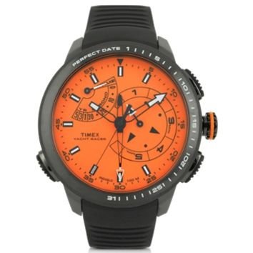 Timex Designer Men's Watches Yacht Racer Pro Black Stainless Steel Case and Silicone Strap Men's Chrono Watch