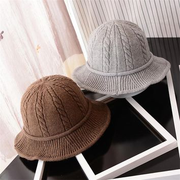 BCK002 Hot Sweet Women Wool Twist Pattern Knitted Cap Winter Autumn Female Cotton Foldable Curling Bucket Fishing Hats