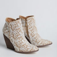 Tallulah Lace Demi Wedge Booties