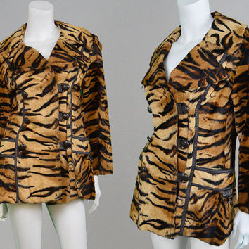 Vintage 60s 70s Tiger Print Faux Fur Coat Womens Jacket Leather Trim Animal Print Fitted Coat Fake Fur Coat 1970s Jacket Leopard Print Mod
