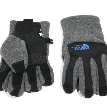 The North Face Boy's Denali Etip Charcoal Gray Gloves