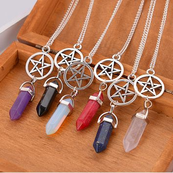 New fashion five star natural stone necklace adorn article