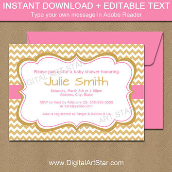 Girl Baby Shower Invitation - Gold and Pink Invite Template - Gold Bridal Shower Invitation Instant Download - Girl Birthday Invitation PGDC