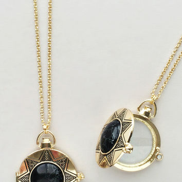 Art Deco Glass Locket Necklace